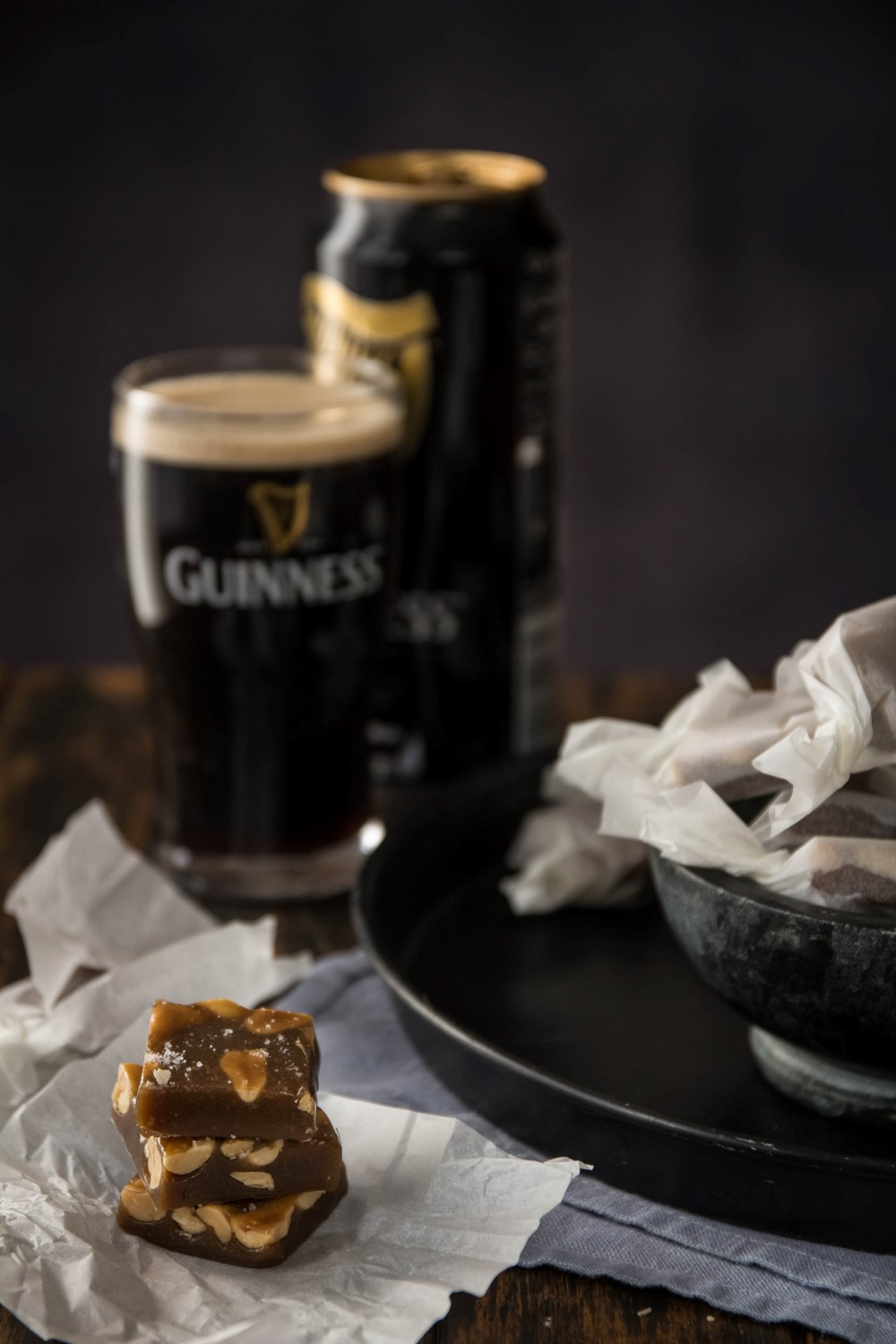 Guinness Caramels With Salted Peanuts