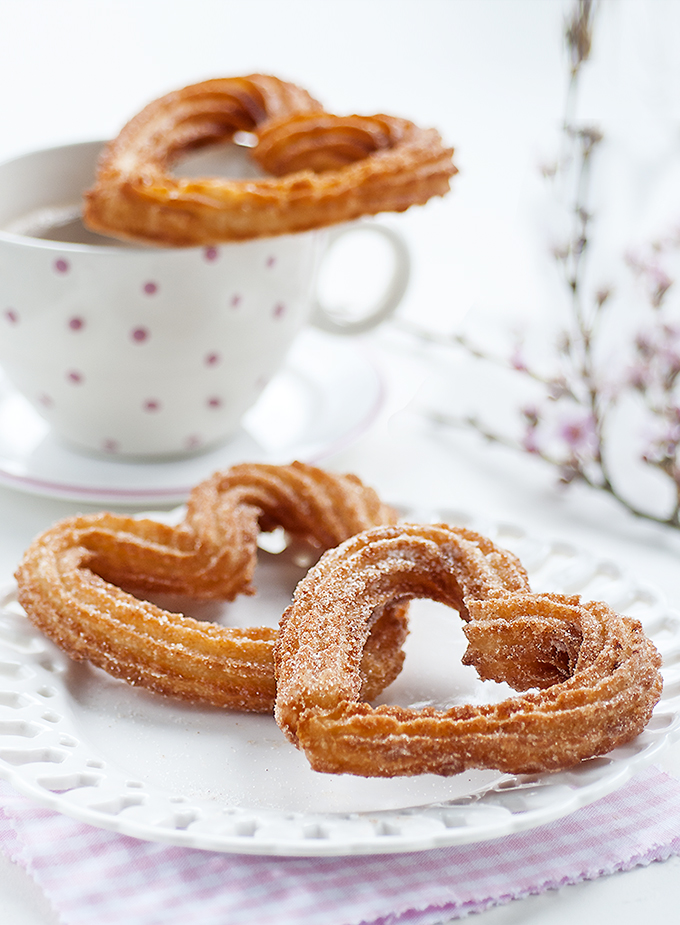 Heart Shaped Churros With Chocolate Dipping Sauce