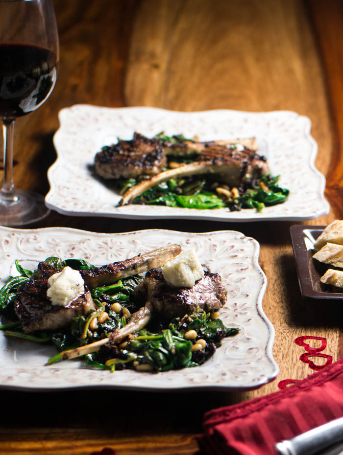 Grilled Lamb Chops With Spinach