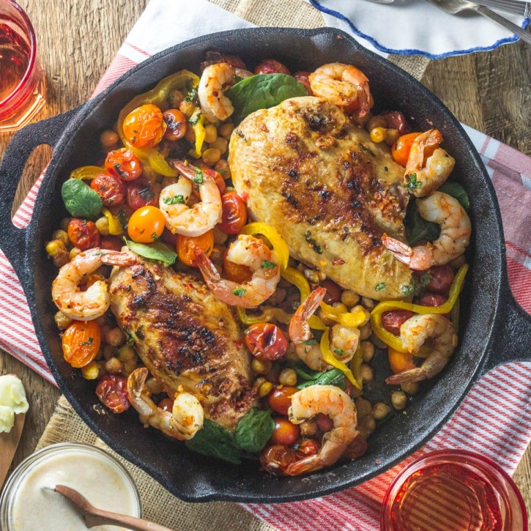 Roast Chicken Breasts With Tomatoes, Garbanzo Beans and Shrimp