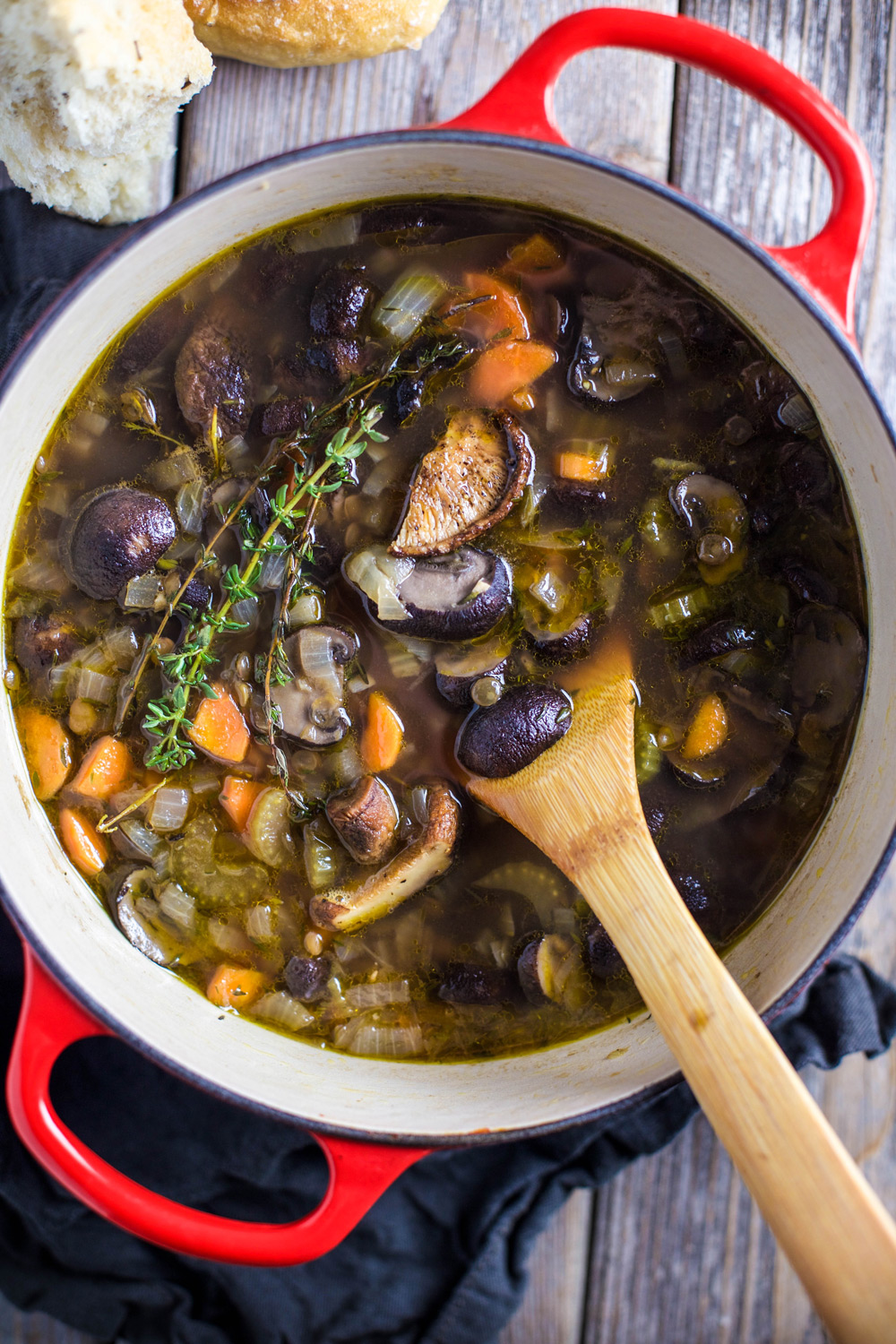 Smoked Mushroom and Lentil Soup