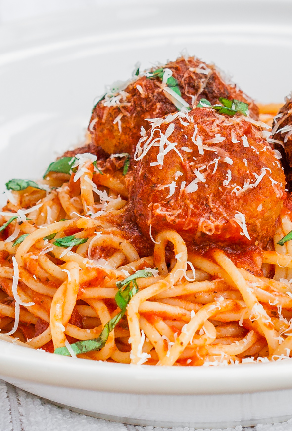 Slimmed Down Spaghetti Chicken Meatballs