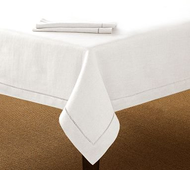 White Linen Hemstitch Tablecloth