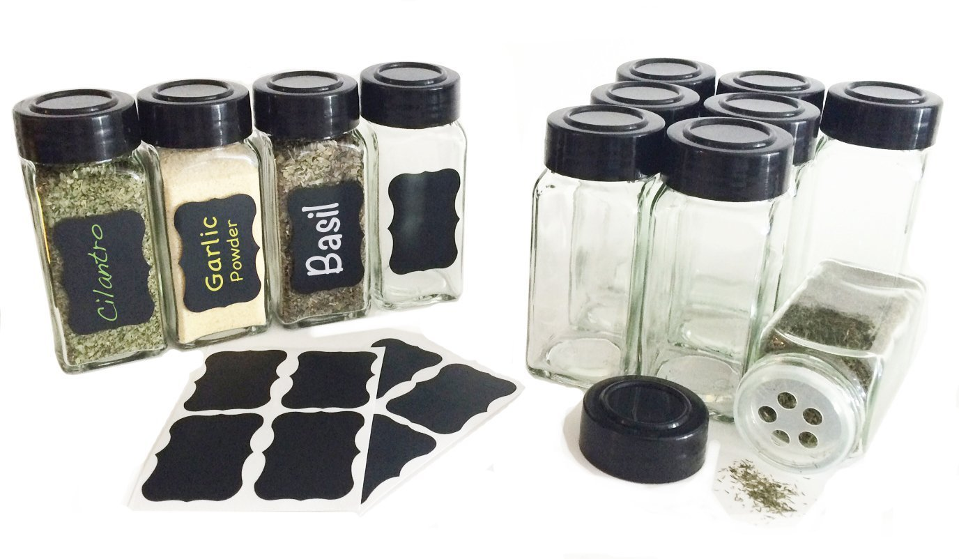 Clear Spice Bottles w/Chalkboard Labels
