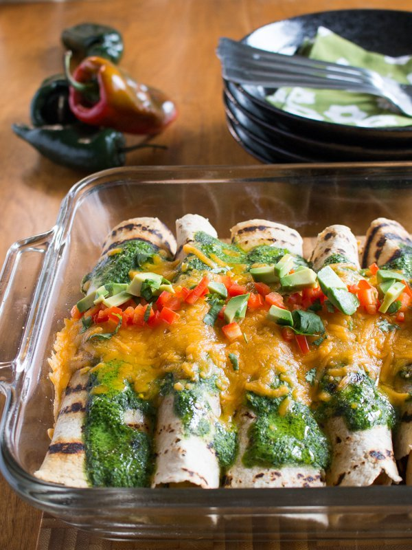 Chicken Enchiladas with Roasted Poblano Peppers