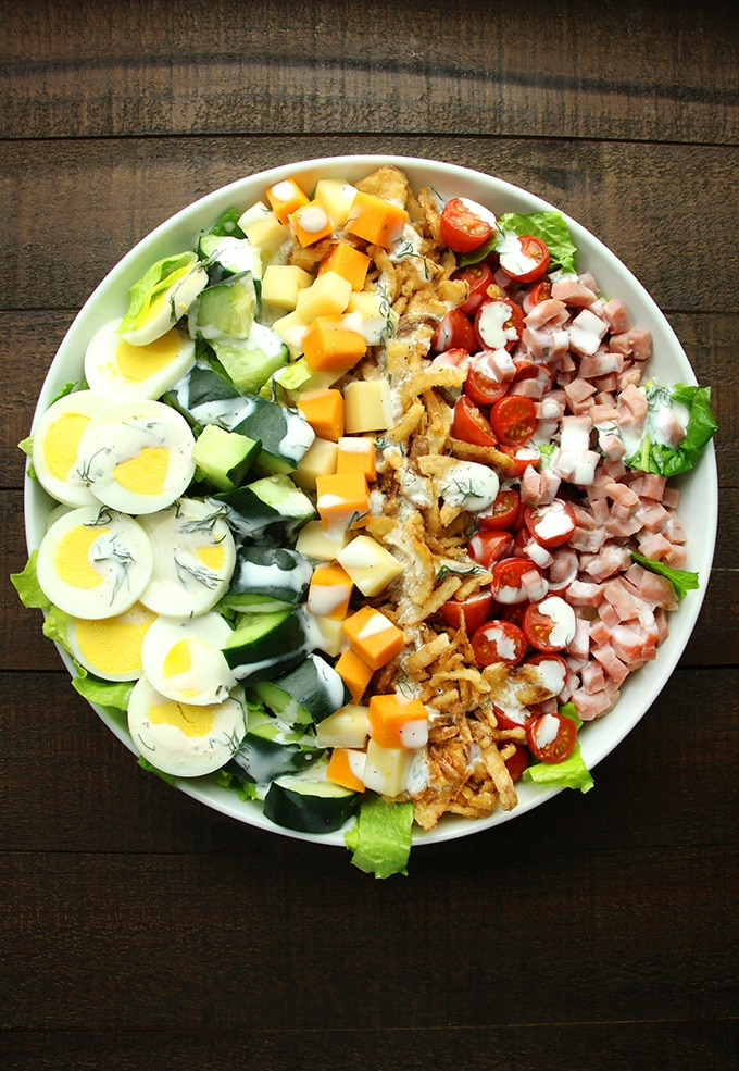 Chopped Salad with Garlic Dill Ranch Dressing