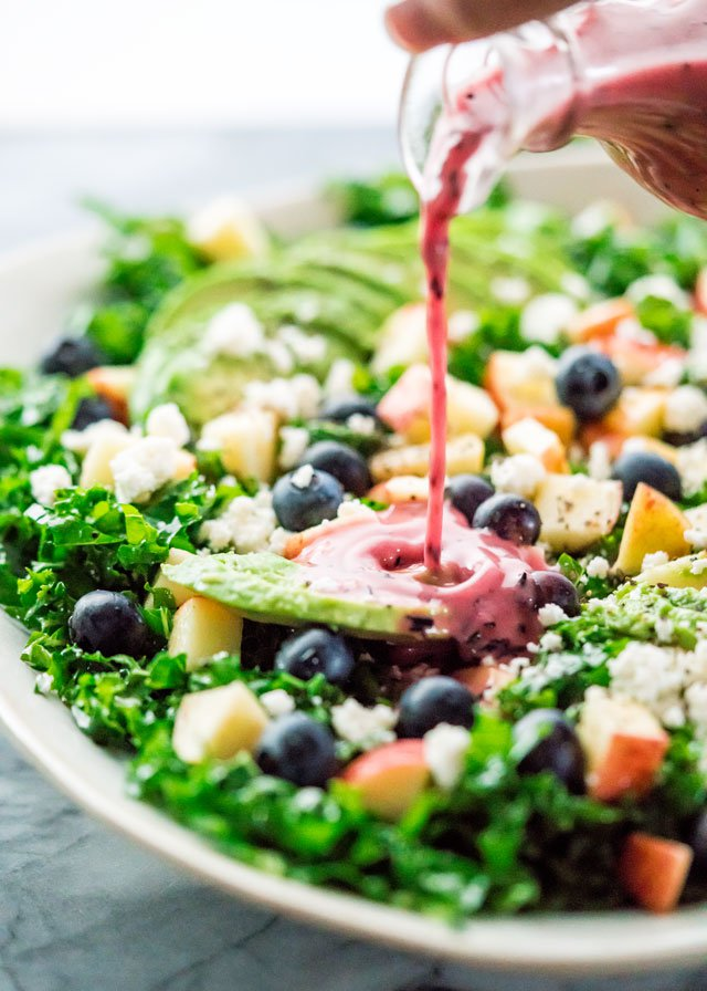 Kale Salad with Blueberry Vinaigrette