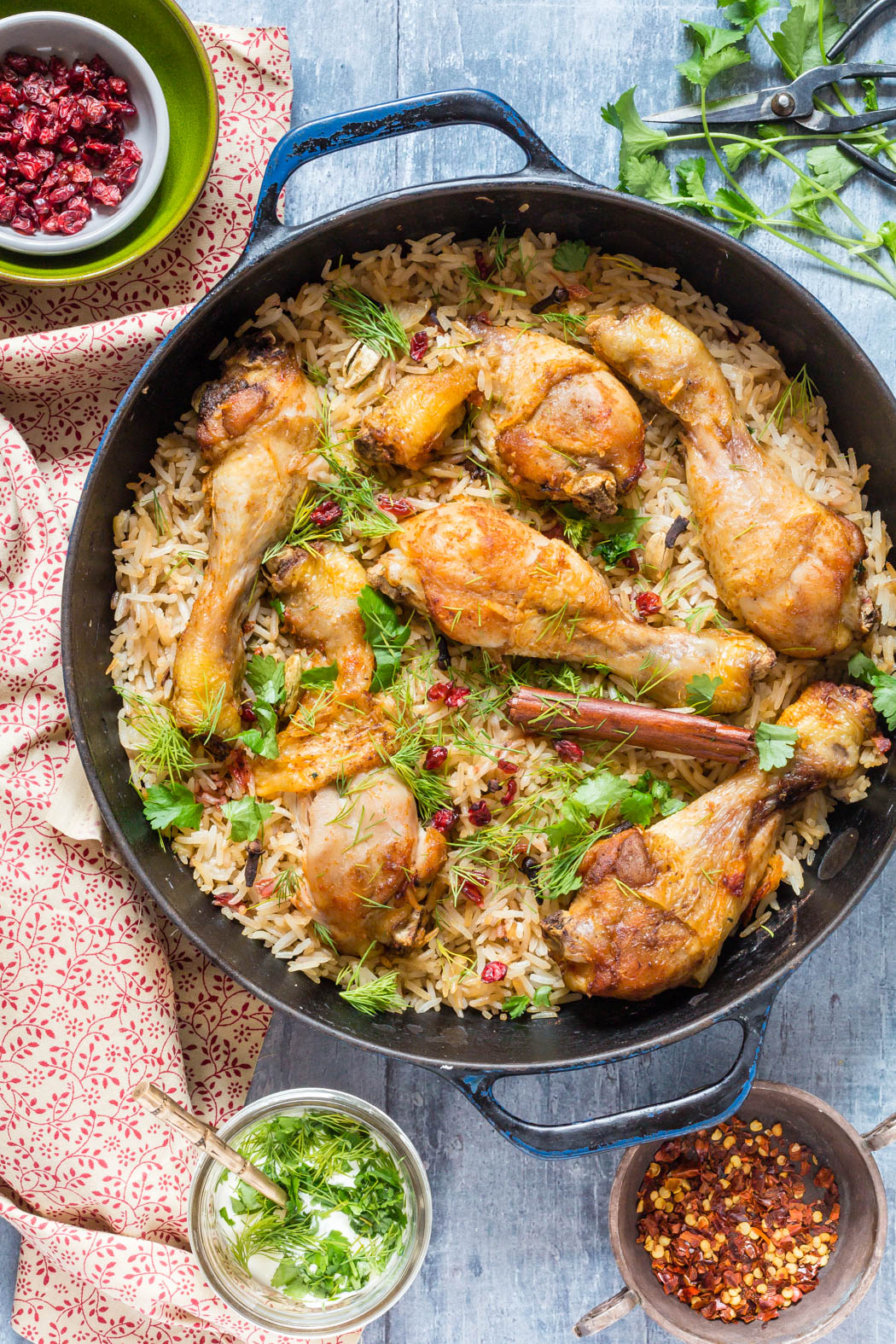 One Pot Chicken with Caramelized Onions, Cardamom and Barberry Rice